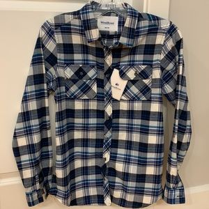 NEW Mark's Work WindRiver Flannel Navy Plaid Shirt